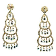 6 Carat Panim Artistic Christmas Style Diamond Earrings in 18 Karat Gold
