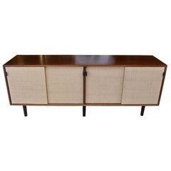 Florence Knoll for Knoll Walnut and Grasscloth Credenza