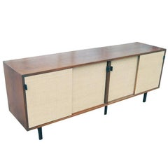 6ft Florence Knoll For Knoll Walnut And Grasscloth Credenza