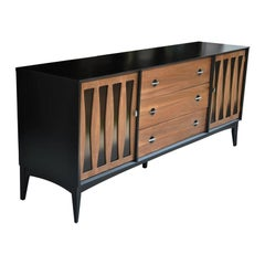 Vintage Midcentury Dresser with Ebonized Case and Panels
