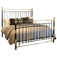 Wide Decorative Brass and Iron Bed