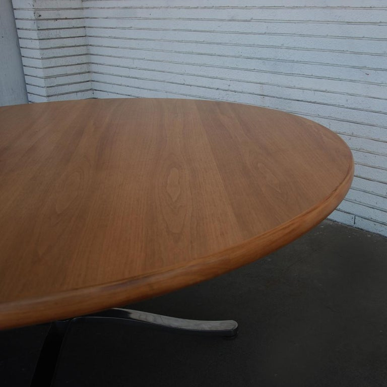 20th Century Zographos Bleached Walnut Table with Stainless Base