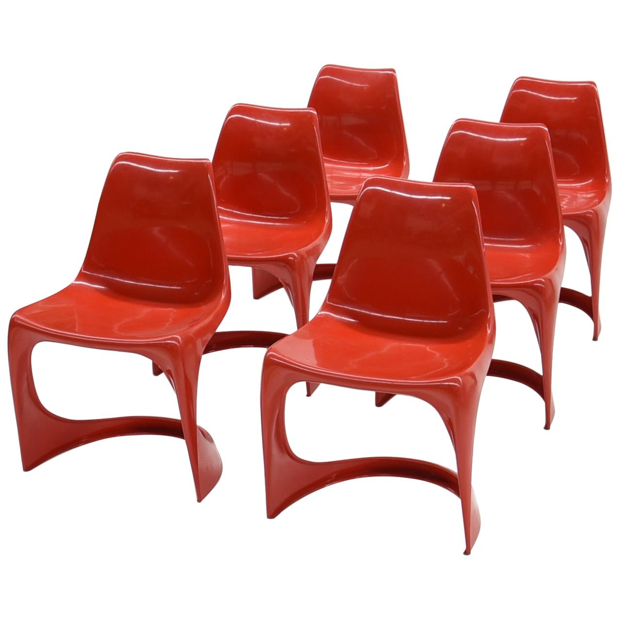6 Red Cado 290 Plastic Chairs by Steen Østergaard, 1970s