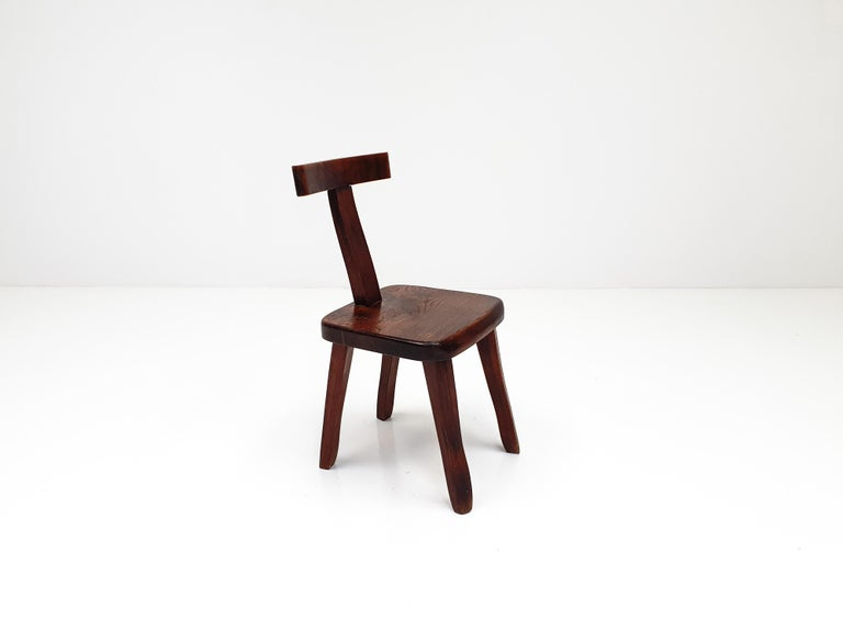 6 Sculptural Solid Elm Chairs by Olavi Hänninen for Nupponen, Finland, 1950s For Sale 5