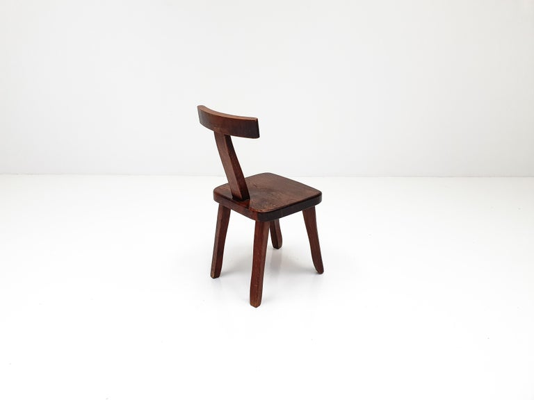 6 Sculptural Solid Elm Chairs by Olavi Hänninen for Nupponen, Finland, 1950s For Sale 6