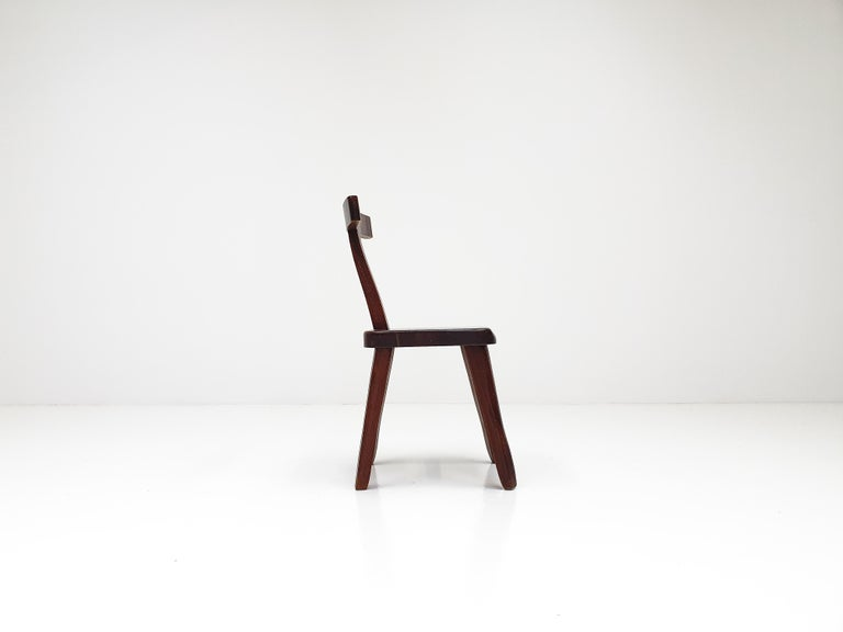 6 Sculptural Solid Elm Chairs by Olavi Hänninen for Nupponen, Finland, 1950s For Sale 7