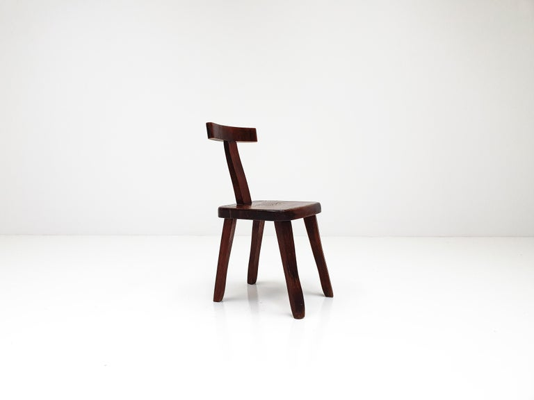 6 Sculptural Solid Elm Chairs by Olavi Hänninen for Nupponen, Finland, 1950s For Sale 8