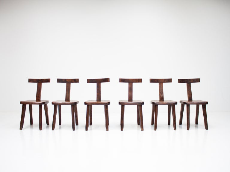 6 Sculptural Solid Elm Chairs by Olavi Hänninen for Nupponen, Finland, 1950s For Sale 9