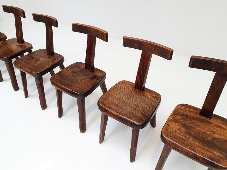 Mid-Century Modern 6 Sculptural Solid Elm Chairs by Olavi Hänninen for Nupponen, Finland, 1950s For Sale