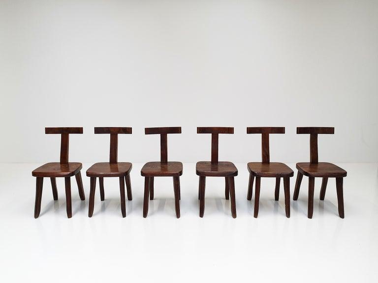 Norwegian 6 Sculptural Solid Elm Chairs by Olavi Hänninen for Nupponen, Finland, 1950s For Sale