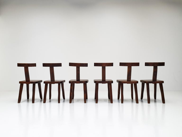 20th Century 6 Sculptural Solid Elm Chairs by Olavi Hänninen for Nupponen, Finland, 1950s For Sale
