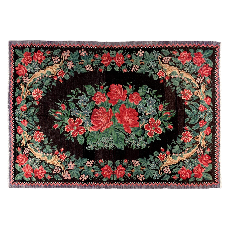 6x8.9 Ft Vintage Bessarabian Kilim, Floral Handwoven Wool Rug from Moldova