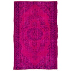 6x9.2 Ft Fuchsia & Purple Colored Vintage Rug for Modern Interiors
