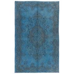 Light Blue Color Re-Dyed Vintage Turkish Rug with Medallion Design