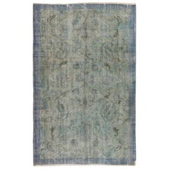 6x9.5 Ft Distressed Vintage Floral Anatolian Area Rug Over-Dyed in Blue Color