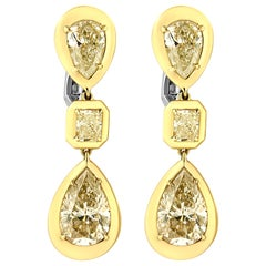 7 4/5 Cttw Natural Yellow Pear and Emerald Cut Diamond 18k Yellow Gold Earrings