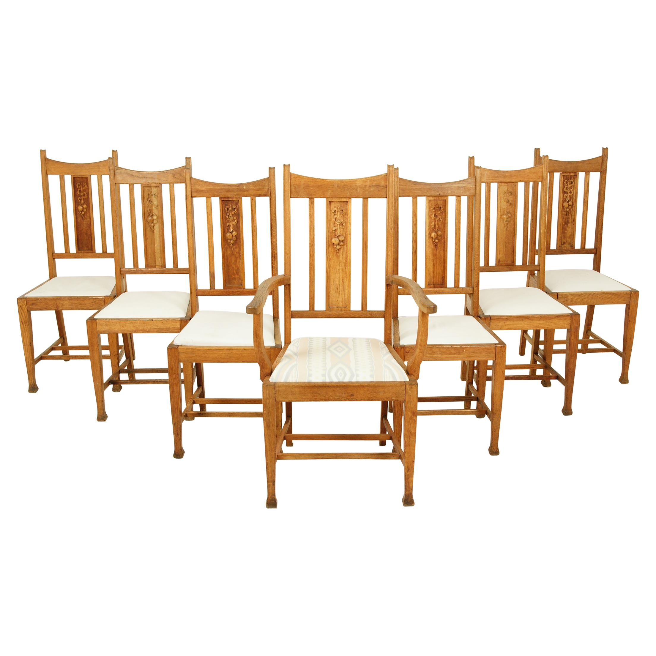7 Antique Dining Chairs, Arts & Crafts, Mission Carved Oak, Scotland 1910, B2543