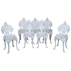 7 Antique French Victorian Cast Iron Patio Chairs Ice Cream Garden Bistro