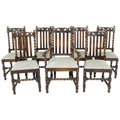 7 Antique Oak Barley Twist Dining Chairs, Lift Out Seats, Scotland 1920, B2499