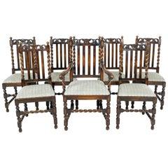 7 Antique Oak Barley Twist Dining Chairs, Lift Out Seats, Scotland 1920, B2499
