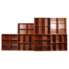 7 Bookcases in Solid Mahogany by Mogens Koch, Made in Denmark, 1960s