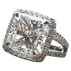 7 Carat Approximate Princess Shape Diamond Engagement Ring, Ben Dannie Design