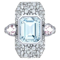 7 Carat Aquamarine Pink Sapphire and Diamond Platinum and Silver Ring