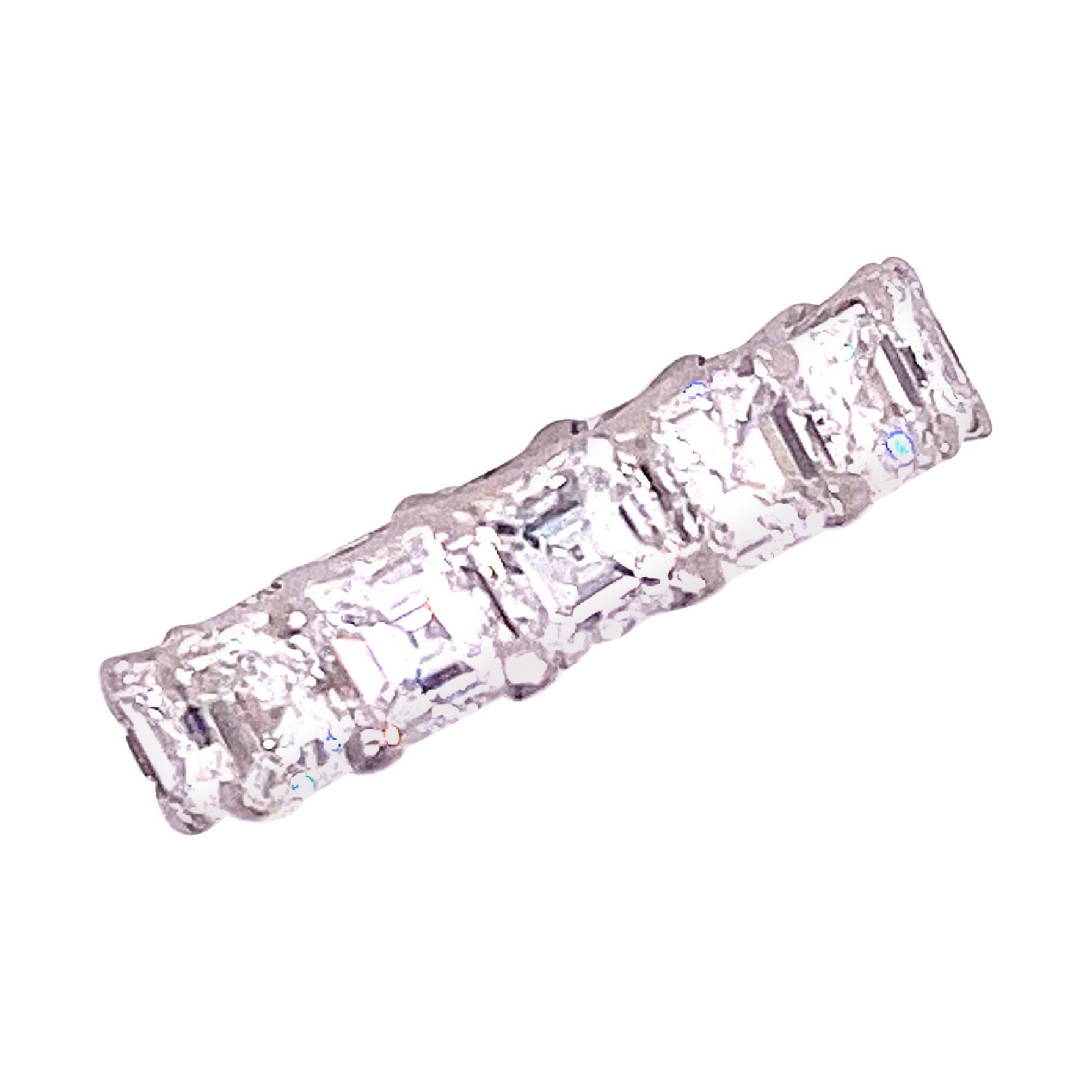 7 Carat Asscher Cut Diamond Platinum Eternity Band Ring