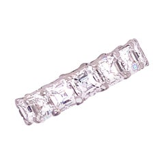 7 Carat Asscher Cut Diamond Platinum Eternity Band Ring
