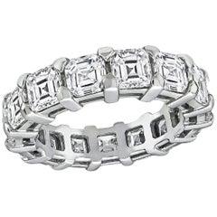 7 Carat Asscher Cut Diamond Platinum Eternity Wedding Band