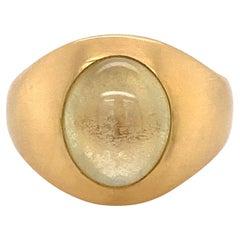 7 Carat Cat's Eye Men's Signet Gold Ring Estate Fine Jewelry