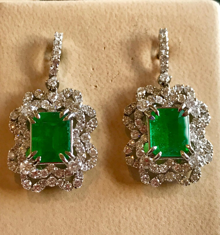 Women's 7 Carat Colombian Emerald Cut Emerald Diamond Hanging Earrings 18 Karat Gold For Sale