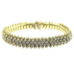 7 Carat Diamond 18 Karat Yellow Gold Bombay Style Five-Row Bracelet
