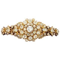 Antique 7 Carat Diamond Gold Bangle Bracelet