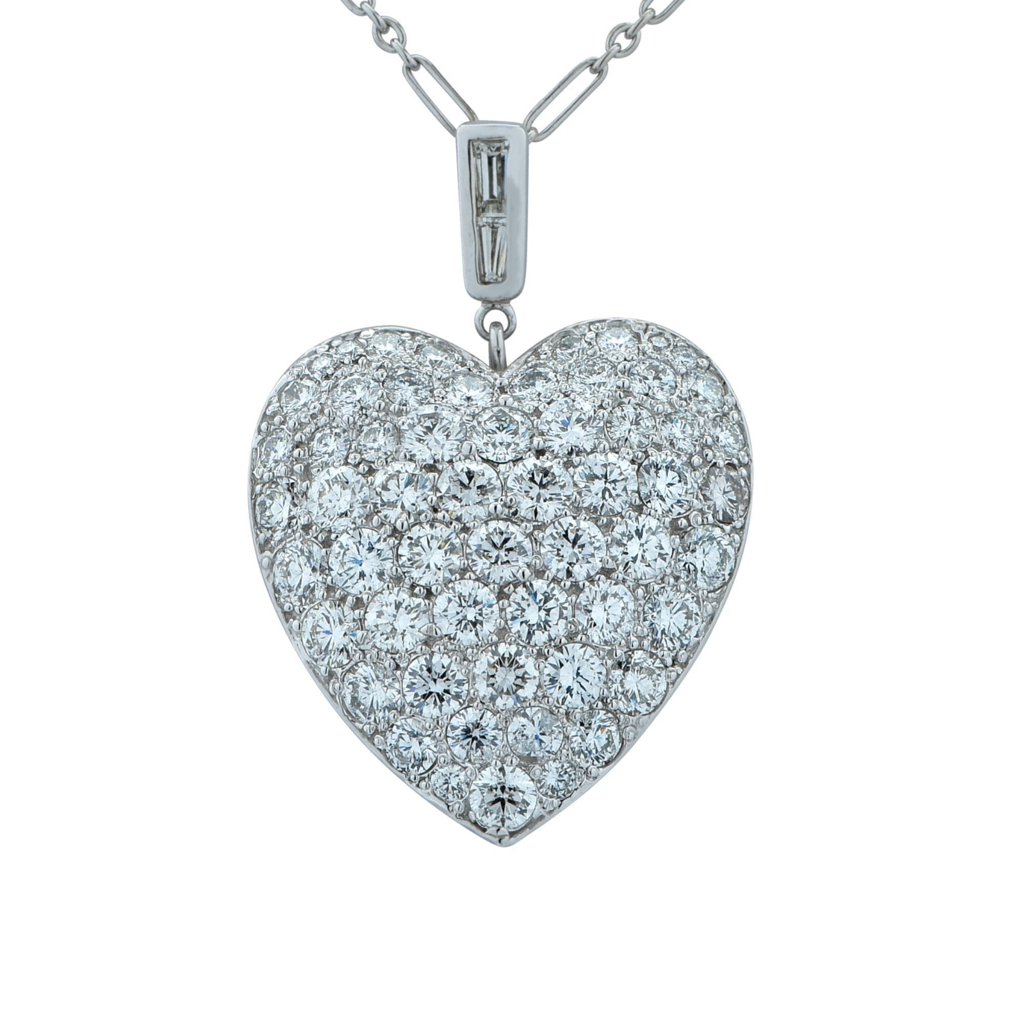 7 Carat Diamond Heart and Diamond Necklace