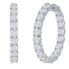 7 Carat Diamond Hoop Earrings 14 Karat White
