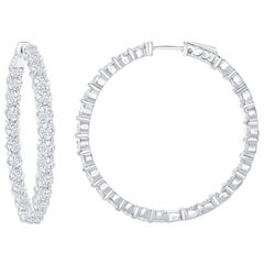 7 Carat Diamond White Gold Hoop Earrings