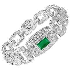 7 Carat Diamonds & 4.5 Carat Colombian Emerald Platinum Diamond Bracelet Estate