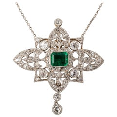 7 Carat Diamonds and 4.60 Carat Colombian Antique Belle Époque Necklace