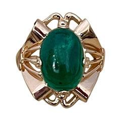 7 Carat Elongated Oval Emerald Cabochon 14 Karat Rose Gold Cocktail Ring Vintage