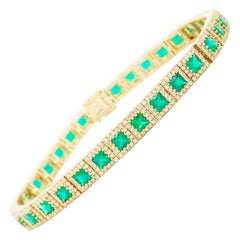 7 Carat Emerald and Diamond Halo Tennis Bracelet 14 Karat Gold Square Emeralds