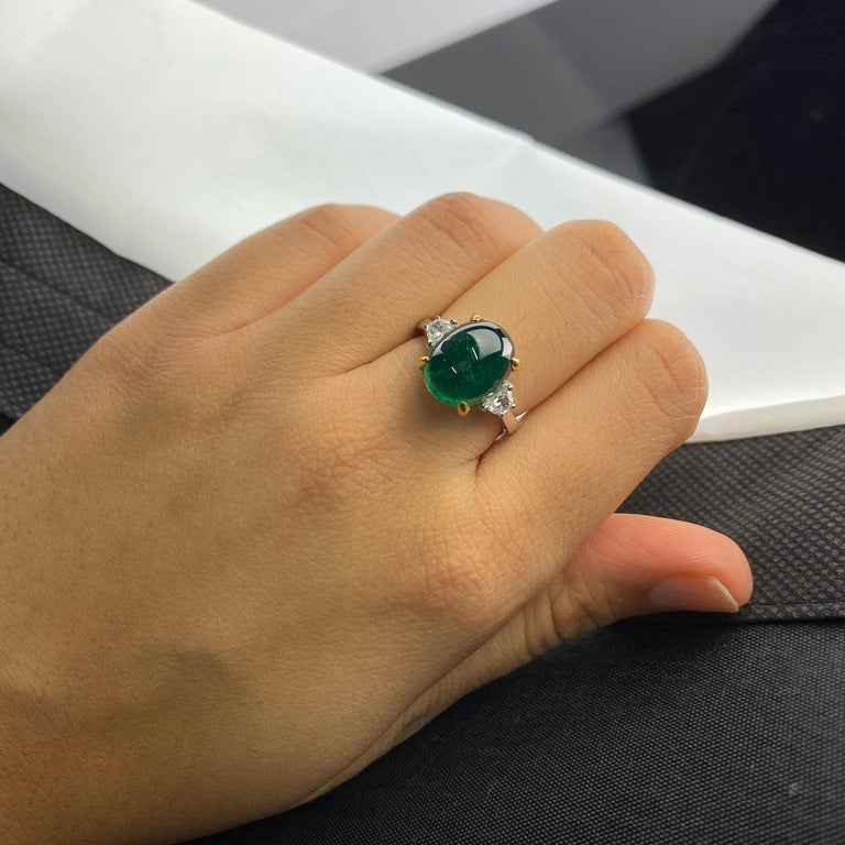 Women's 7 Carat Emerald Cabochon and Diamond Three-Stone Engagement Ring For Sale