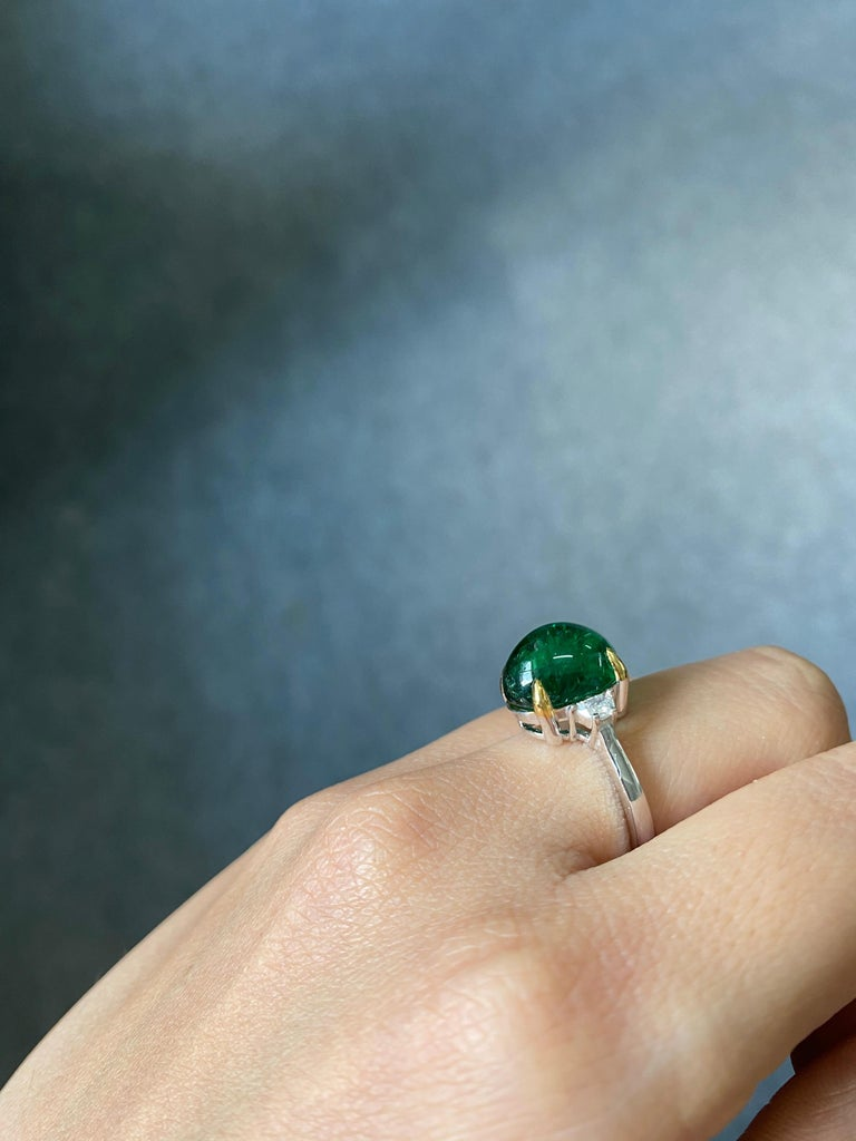 7 Carat Emerald Cabochon and Diamond Three-Stone Engagement Ring For Sale 2