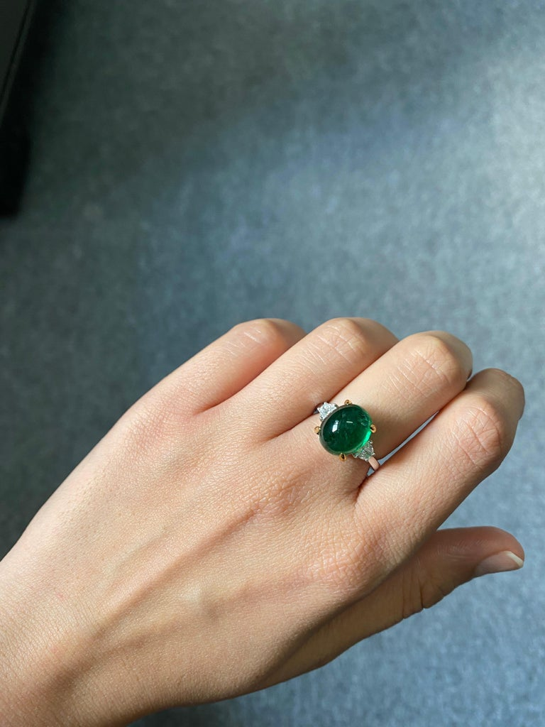 7 Carat Emerald Cabochon and Diamond Three-Stone Engagement Ring For Sale 3