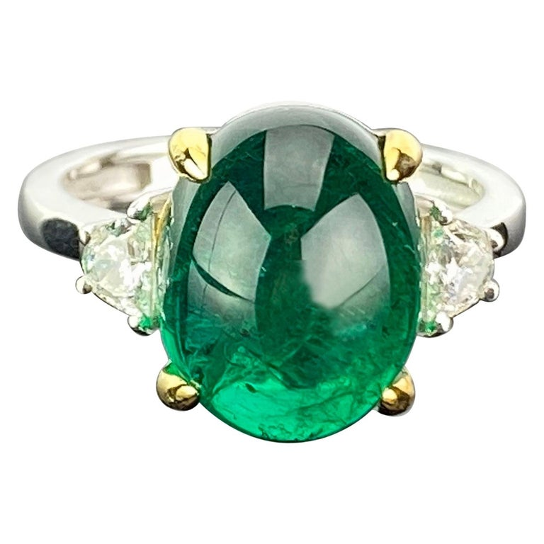 7 Carat Emerald Cabochon and Diamond Three-Stone Engagement Ring For Sale