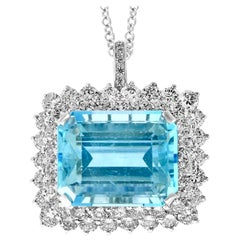 7 Carat Emerald Cut Aquamarine and 4 Carat Diamond Pendant Necklace in Platinum