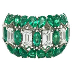 7 Carat Emerald and Diamond Ring 18 Karat Gold