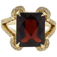 7 Carat Garnet and Sapphire Ring with European Shank in 18 Karat Yellow Gold