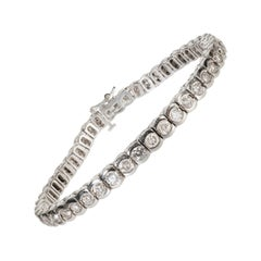 7 Carat Genuine Diamond and 14 Karat White Gold Tennis Bracelet