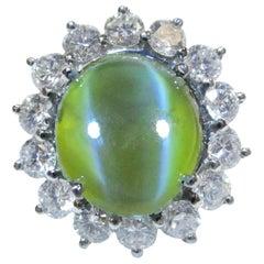 7+ Carat GIA Certified Cat's Eye Chrysoberyl Platinum Diamond Ring